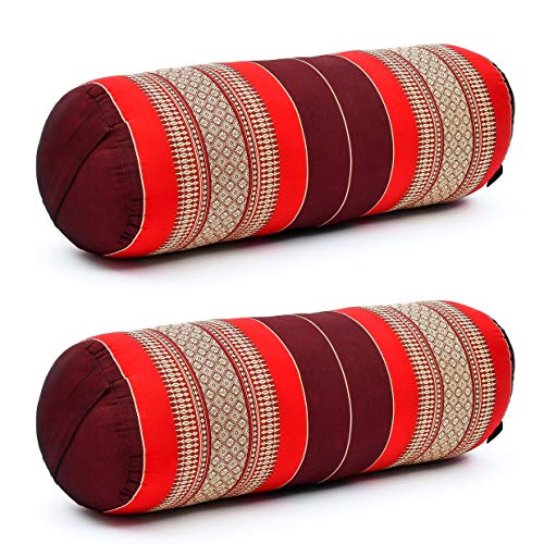 Leewadee Set de 2 Yoga bolsters Grandes – Almohadas tailandesas de kapok Natural, Cojines alargados para Pilates, 65 x 25 x 25 cm, Set de 2, Rojo