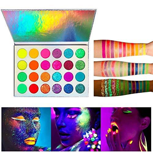 24 Farben Glühen Leuchtendes Lidschatten-Make-up Im Dunkeln leuchten Lidschatten-Palette...