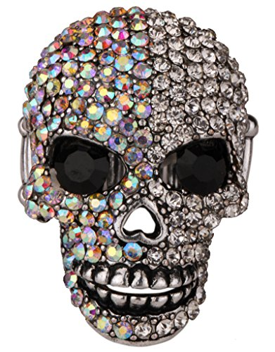 YACQ Women's Skull Stretch Rings Fit Finger Size 7 TO 9 - Moving Jaw - Lead & Nickle Free - Paved Crystals - (1-1/2 x 1) Inch - Scarf Holders - Women Girls Biker Jewelry ( Silver AB )
