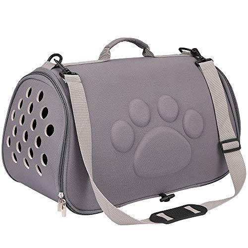 FREESOO Trasportino Gatto Cane Pieghevole Borsa per Trasporto Cani Traspirante e Comodo Tracolla per Viaggio Treno Animali Domestici 52 * 32 * 32cm Grigio