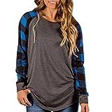 TOPUNDER 2018 Women O-Neck Blouse Long Sleeve Shirt Sweatshirt Pullover Tops (Blue, XX-Large)