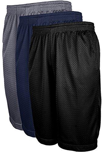 Mens Athletic Basketball Shorts with Pockets, Active Workout Big and Tall Shorts 3PK BLK_DKGREY_NAV-4XL