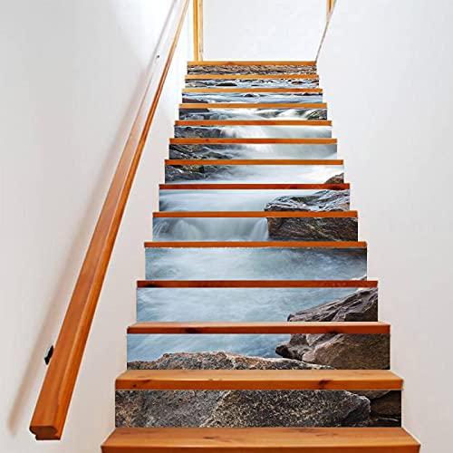 tzxdbh vinilos escaleras Arroyos piedras cascadas 100CMx18CMx6pieces(39.3'w x 7'h x 6pieces) Pegatinas para escaleras en PVC Lavable con Muy Alta resolución de impresión y Larga duración Calcomanía
