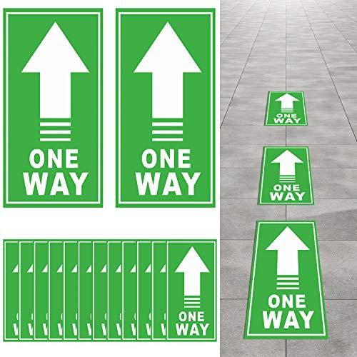 25 Pezzi One Way Segno di Decalcomania del Pavimento Adesivi Frecce Direzionali Segno Marcatore Distanza Sociale Piano di Sicurezza One Way Mantenere Le Distanze (Verde, Bianco)