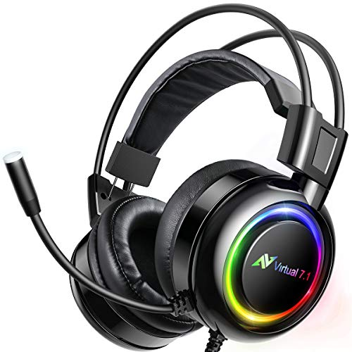 ABKONCORE B780 Gaming Headset with Dynamic Sensory, PS4 Headset with 7.1 Surround Sound, Bass Vibration. USB Headset with Air Permeable Earmuffs, Noise Canceling Mic, RGB Light for PC, Laptop, Mac