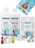 Metacril Starter Kit Chlor para tratamiento de agua a base de cloro en pastillas de 20 g. Ideal para piscina o hidromasaje (Teuco, Jacuzzi, Dimhora, Intex,Bestway, ECC). Envío inmediato.