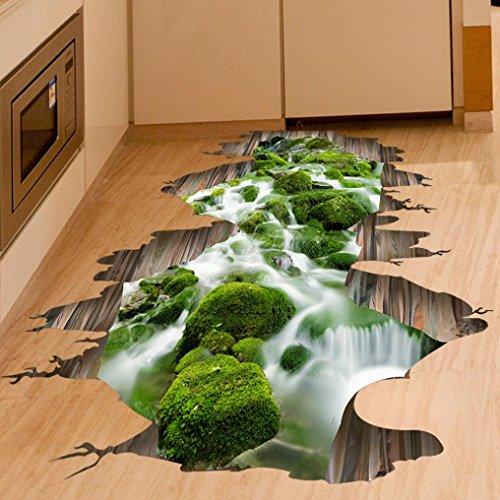 Tefamore 3D Stream Floor Wall Sticker autocollants amovibles Vinyl Art Living Room Decor