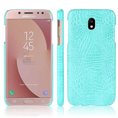 Para Samsung Galaxy J7 Pro capa de couro sintético com estampa de crocodilo (Verde)