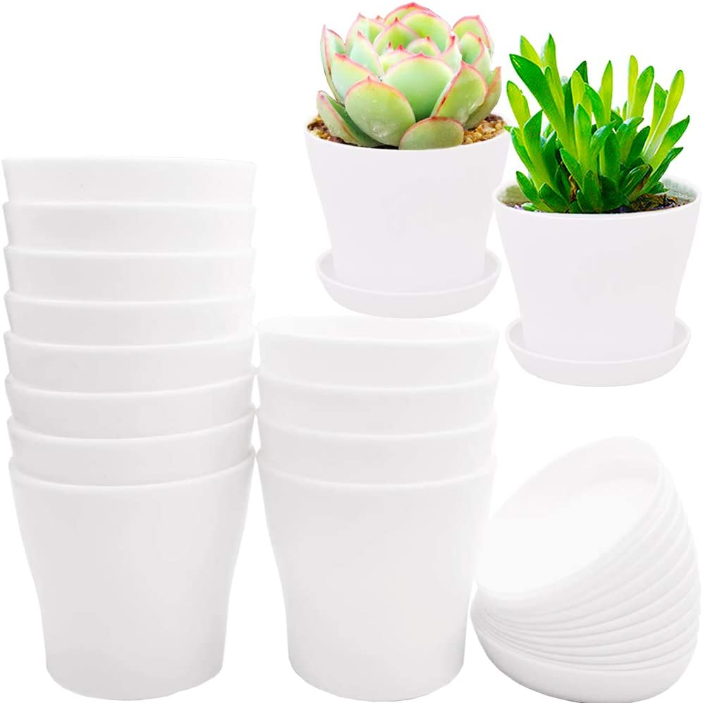 12 Pack 4 Inch White Plastic Max 65% OFF Flower Round Planters Nursery Plant Regular store