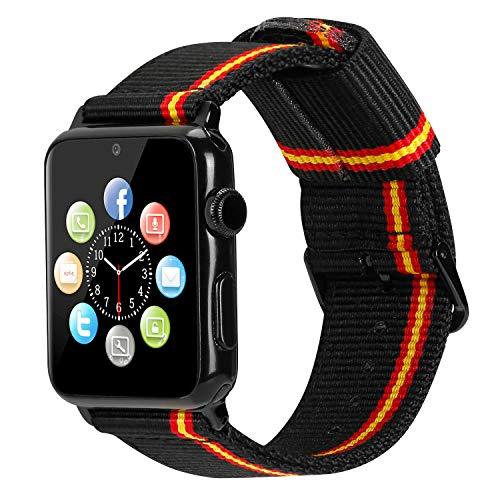 Estuyoya - Pulsera de Nailon Compatible con Apple Watch Colores Bandera de España, Ajustable Reemplazo Estilo Deportiva Casual Elegante para 42mm 44mm Series 6/5 / 4/3 / 2/1 / SE - Lineblack
