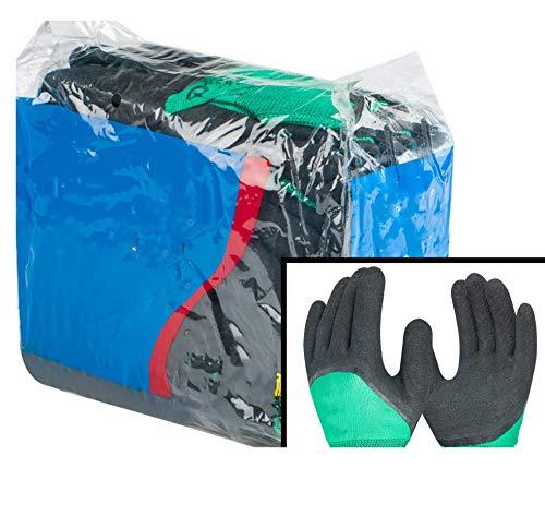 Stabiele slijtvaste 12 paar beschermende handschoenen, slijtvaste anti-slip ondergedompeld latex kunststof, rubber met lijm werk dikke mannen L A1