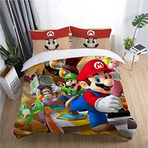 Qiutian 3D Super Mario Bros. Dekbedovertrekset voor kinderen, leuke cartoon karakter bedrukt, dekbedovertrekset, bed, set beddengoed Twin volledige koning 172x218cm 6