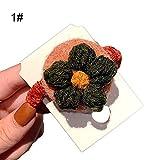 Mothcattl - Coleta de pelo para mujer, diseño de flores de ganchillo