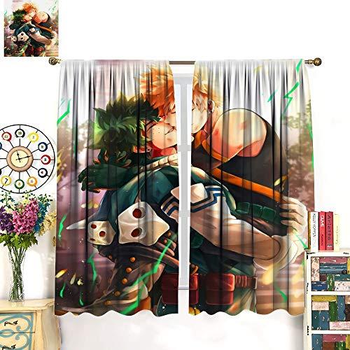 Petpany My Hero Academia, Iku Katsuki Animation Illustration (Limited Key Art) Cortinas de impresión tipo barra de pintura, 107 x 160 cm, para oscurecer la habitación Adecuado para dormitorio