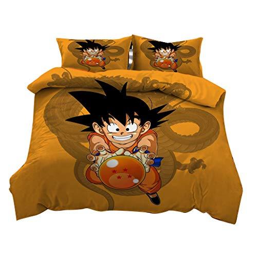 Cool Dragonball Bettwäsche Super Son Goku Bettwäsche Set, Bettwäsche Dragonball 135x200, Dragon Ball Manga Bettbezug und 1/2 Kissenbezug - Unisex Kinder Jungen Mädchen Geschenke (PQSN-01,173x218)