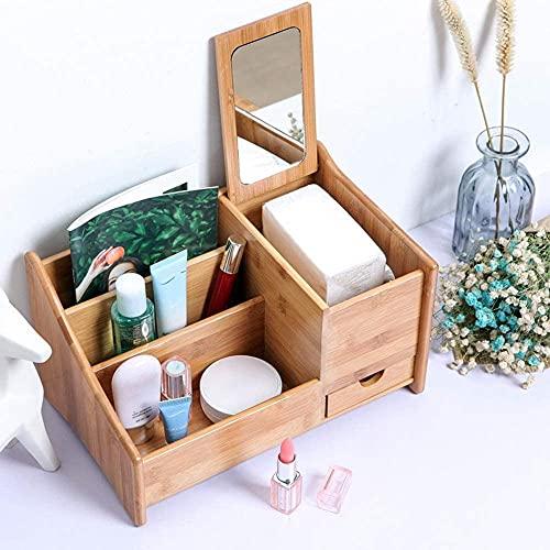 ZMY Organizador de joyería de Maquillaje cosmético Natural Bambú Escritorio Perfumes Pantalla Soporte Soporte Joyas Caja de Almacenamiento con 3 Compartimentos y 1 cajón y Pad Cad Pad Jewelry Box