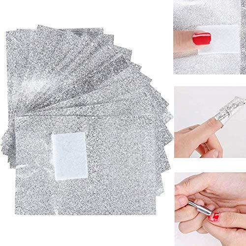 Chytaii 100pcs Papel Aluminio Con Esponja Uñas Papel