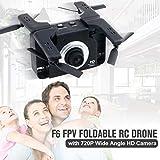 Creacom Caméra Grand Angle Drone RC Pliable, 2 en 1 F6 Caméra Grand Angle Cam FPV Drone RC Pliable Avion Geste Selfie Mode sans tête Drone 720P avec Photo de Geste