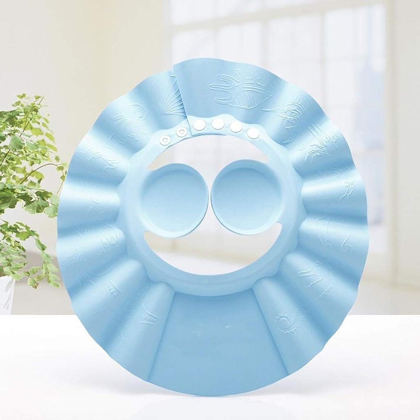 ピアニストフォーマルこどもの宮殿ベビーシャンプーシャワーキャップ子供調節可能シャンプーキャップベビーシャワーキャップ子供防水キャップベビー耳入浴キャップ (Color : Blue, Size : Ear protector)