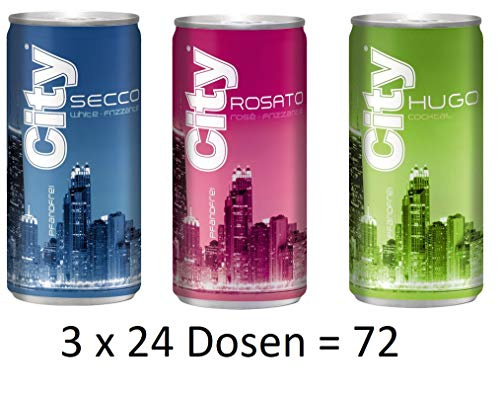 72 Dosen City gemisch Bellini,Hugo rose,Hugo und City Secco