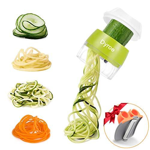 pequeño y compacto Cortador de verduras en espiral Dyroe 4 en 1 – Espiralizador de verduras 1 ud.  , Mini Pelador de Verduras 1ud.