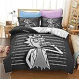 Aatensou Ropa de cama de microfibra Rick and Morty, juego de funda nórdica con cremallera, diseño de dibujos animados, funda de edredón y funda de almohada