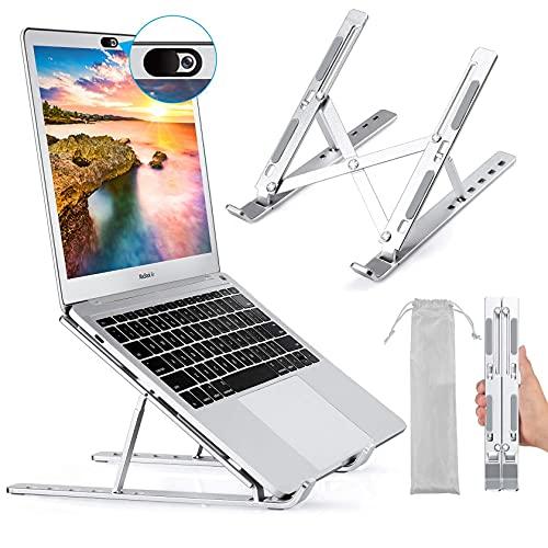 """Foonii Laptop Ständer, Faltbar Aluminium Laptop Stand Halterung, Tragbar Höhenverstellbarer Belüfteter Notebook Ständer, Kompatibel mit MacBook Pro Air, 10-15,6 """" Laptops Tablet, iPAD,Phones, Silber"""