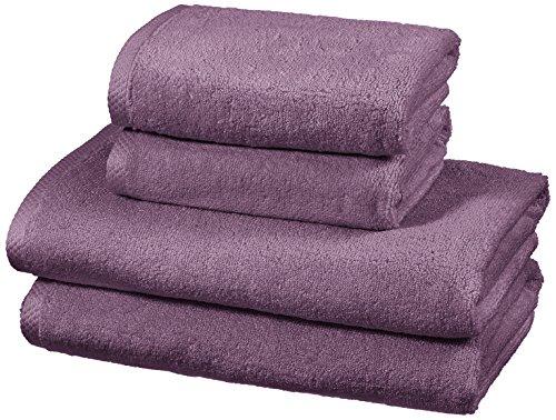 AmazonBasics - Juego de 4 toallas de secado rápido, 2 toallas de baño y 2 toallas de mano - Lavanda