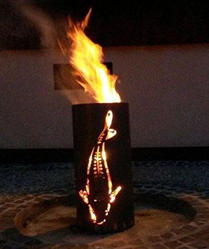 Tiko-Metalldesign Feuertonne/Feuerkorb, mit Motiv Koi