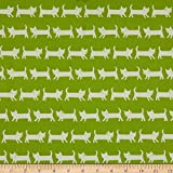 Elite Fabrics 0661410 Elite Tip-Top Oxford Cats Lime Fabric