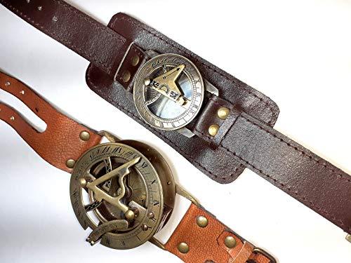 Reloj de pulsera con brújula y reloj de bolsillo, brújula de latón dorado envejecido, brújula con correa de piel, reloj de pulsera