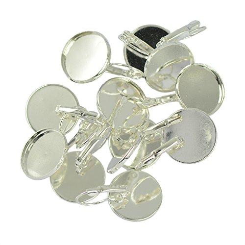 oshhni 12x Leverback Ear Wire Hook Ronda Bisel en Blanco Pendiente DIY Hacer Oro/Plata - Plata, Individual