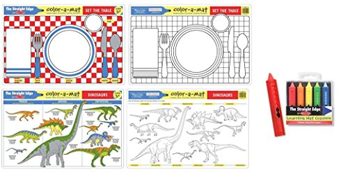 Set the Table and Dinosaurs Learning Mats (Color Mat) for age 3+ with bonus Learning Mat Crayons
