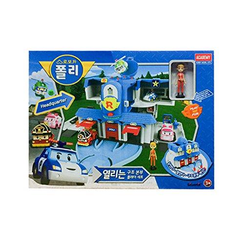 ACADEMY Robocar Poli Headquarters Rescue Center Play Set Diecast Figures Poli+Roi+Amber