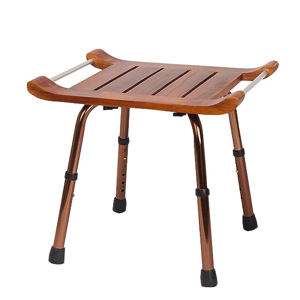 モーテル市区町村チェスをするFLY? 木製のバスルームノンスリップシャワーチェア調節可能なベンチバスタブシート肘掛け付き老人のための妊婦ブラウン