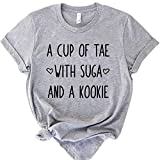 ANRevelinCN Cotton Unisex Short Sleeve Round Neck T-Shirts A Cup of Tea with Sugar and A Cookie (Grey, L)