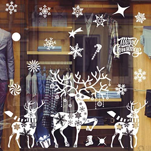 HelloCreate Pegatinas de pared con diseño de copo de nieve con texto en inglés 'Merry Christmas'