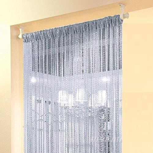 Home Decor Sequin Curtain for Doorway,Door String Curtains,39x79 inch Hanging,Closet Blind Living Bedroom Divider,Window Wall Panel Fringe Sheer no Beads Beaded Decorative Crystal (Silver)
