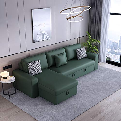 Modern 3 Seater Sofa Bed,Fabric Corner Sofa L Shaped Sofa Couch Settee Sofa with Footstool,Pull-Out Futon Couch with Wooden Legs And Practical Storage Box for Living Room Furniture,290CM