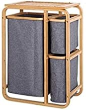 LMCLJJ Bamboo Laundry Hamper with lid, 3 Section Freestanding Laundry Basket Sorter with Removable Bags & Shelf, Wooden La...