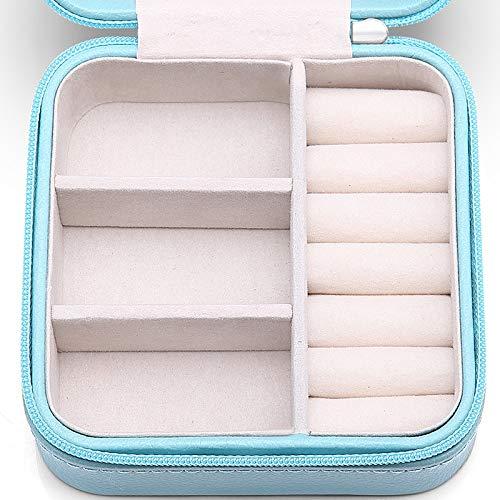 Vlando正方形ジュエリーボックスミニ宝石箱携帯用持ち運びトラベルピアスネックレス指輪リングアクセサリー指輪置きジュエリーバッグ7色(青)