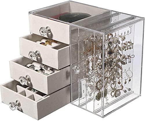 Caja organizadora de joyas de acrílico para mujer, caja de almacenamiento para collares, anillos, pulseras, pendientes, soporte con 4 cajones, cajas de joyería transparentes, Baige