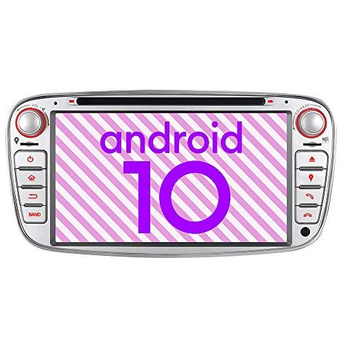 2GB+32GB Eingebautes Carplay DSP Android 10.0 DVD GPS Autoradio Navigation für Ford Mondeo Focus Fiesta C/S-MAX Galaxy Unterstützt Fast Boot Bluetooth DAB + WiFi 4G USB Subwoofer AV-Out