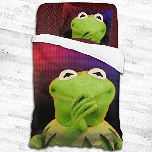 2-Piece Ker-Mit The Frog Zipper Closure Bed Sheet Super Soft Bedding Set Set (1 Quilt Set,1pillow Shams) 55'X83'