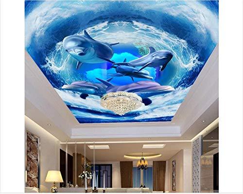 Angepasste 3D-Fototapete 3D Wand-Decken-Tapete Wandbilder Delphin-Deckenfresken auf den Wellen 3D-Raum-Tapete, 150 × 105Cm