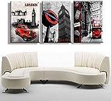 Cuadro decorativo sobre lienzo, diseño de Londres Big Ben en coche, rojo, autobús, ciencia, pared, decoración HD, impresión moderna, hogar, tipo 3 piezas, paisaje, pintura sobre lienzo, 30 x 40 cm
