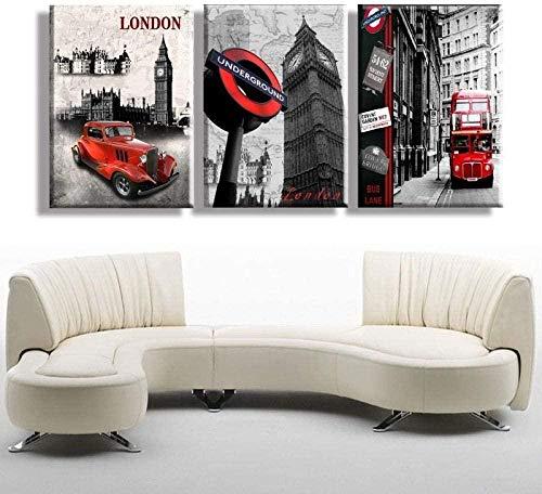 Cuadro decorativo sobre lienzo, diseño de Londres Big Ben Coche Rojo Bus City Wall Decor Photo Art HD impresión moderna casa tipo 3 piezas paisaje pintura sobre lienzo Oeuvre30 x 40 cm