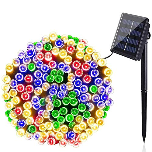 BOLWEO Solar String Lights Outdoor,72Ft 200 LED 8 Modes Waterproof Fairy Lights Festival Garden Fairy Lights for Tree, Patio, Garden, Wedding, Party, Holiday Decoration (Multi-Coloured)