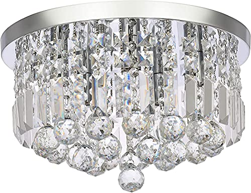 Lámpara de araña de Cristal Moderna, lámpara de Techo LED de Montaje Empotrado Redonda, Elegante lámpara Colgante de Cromo para Comedor, baño, Dormitorio, Sala de Estar, salón (D40cm)