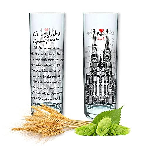 3forCologne Kölschglas 2er Pack bunt 0,2ml, Kölner Stangen mit Skyline, Biergläser Gläser Trinkgläser mit Aufdruck (KGG Serie II)